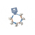Big Blue Bracelet - Sea Turtle Charm Bracelet with Ceramic Brown-Blue Beads